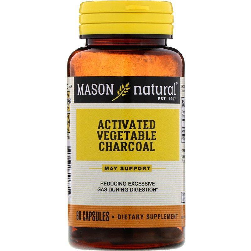 Mason Natural, Активоване Рослинний Вугілля, 60 Капсул