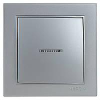 Выключатель Nilson Thor серебро 1кл с подсветкой