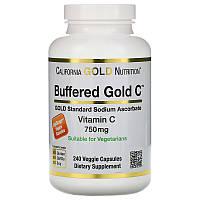 California Gold Nutrition, Буферизованный витамин C в капсулах, 750 мг, 240 растительных капсул, фото 1