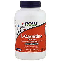 Now Foods, L-карнитин, 500 мг, 180 капсул в растительной оболочке
