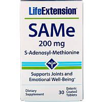Life Extension, SAMe, S-аденозил-метионин, 200мг, 30таблеток, покрытых кишечнорастворимой оболочкой