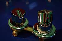 Блок смесителя для душевого бокса на 3 выхода 3/100 Керамический картридж, Латунь, Встраиваемый, Для ванны, под гайку G 3/100, Нептун, 100