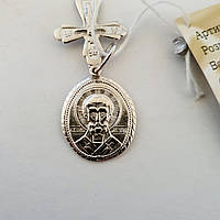 Серебряная ладанка Святой Николай Чудотворец с крестиком, фото 1