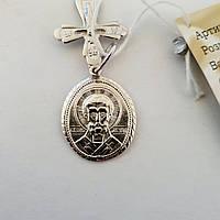 Срібна ладанка Святий Миколай Чудотворець з хрестиком, фото 1