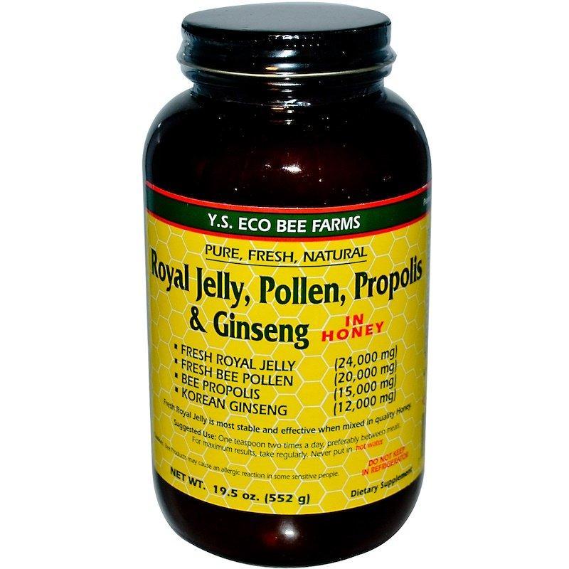 Y.S. Eco Bee Farms, Royal Jelly, Pollen, Propolis & Ginseng, In Honey, 19.5 oz (552 g)