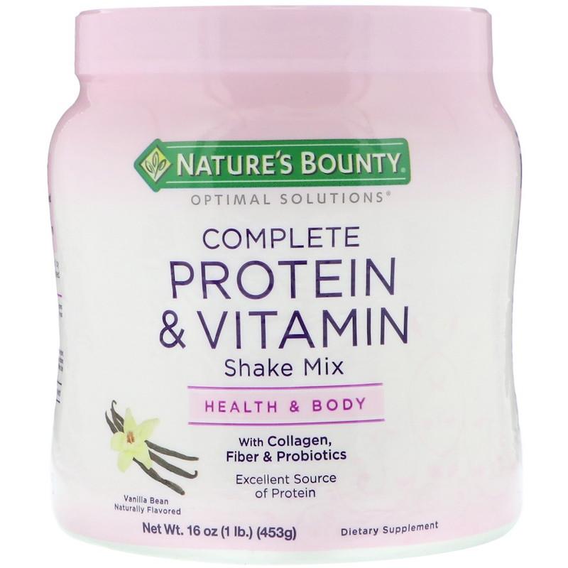 Nature's Bounty, Optimal Solutions, коктейль с полноценными набором протеина и витаминов, со вкусом ванили, 453 г (16 унций)