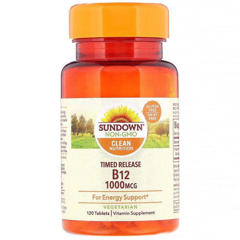 Sundown Naturals, Витамин B12, 1000 мкг, 120 таблеток