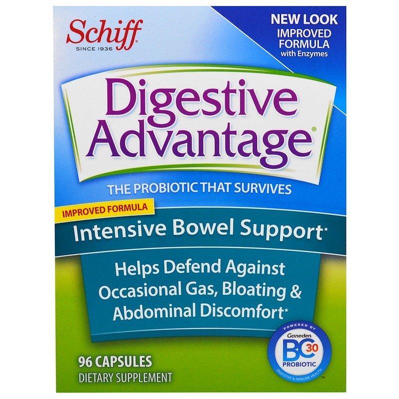 Schiff, Digestive Advantage, інтенсивна підтримка роботи кишечника, 96 капсул