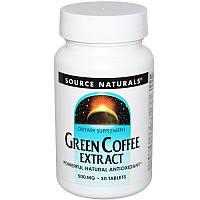 Source Naturals, Екстракт зеленої кави, 500 мг, 30 таблеток