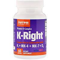 Jarrow Formulas, K-Right, комплекс витаминов К, 60 мягких капсул