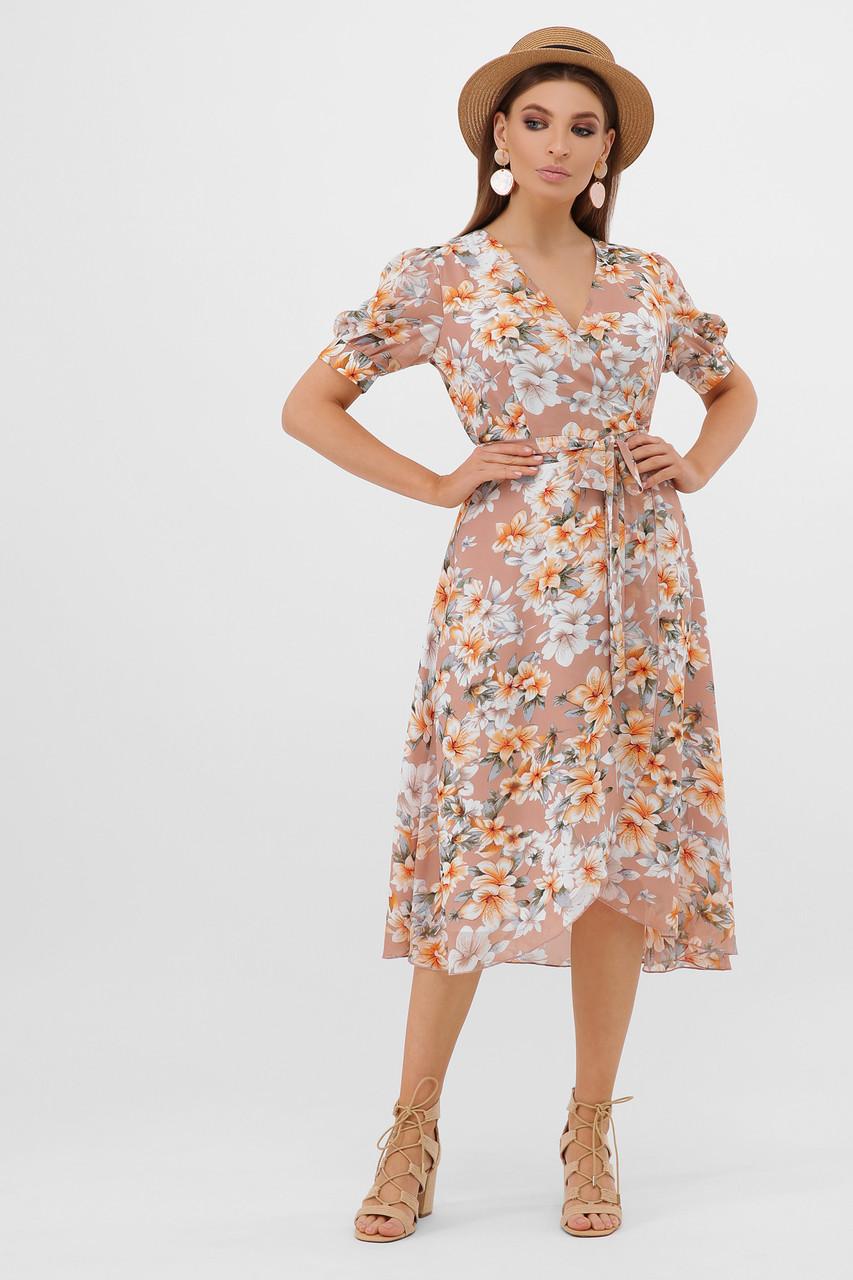 GLEM бежевое платье с цветочным принтом Алеста к/р S
