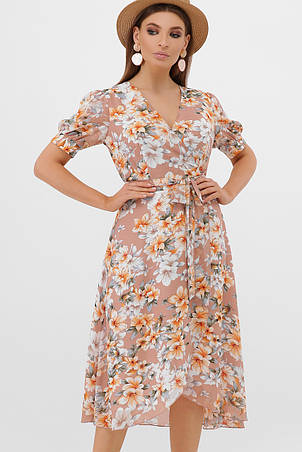 GLEM бежевое платье с цветочным принтом Алеста к/р S, фото 2