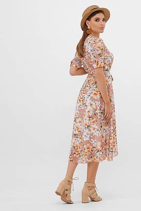GLEM бежевое платье с цветочным принтом Алеста к/р S, фото 3