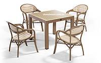 """Комплект  мебели """"BAMBOO FOR 6"""" (стол 90*90, 4 кресла) Novussi, Турция Песочно-+капучино"""