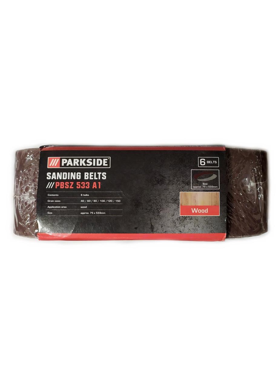 Наждачний шліфувальна папір (6 шт.), PBSZ533 A1 Parkside 53,3х7,5см Коричневий