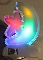 Ночник на светодиодах месяц цветной с выключателем