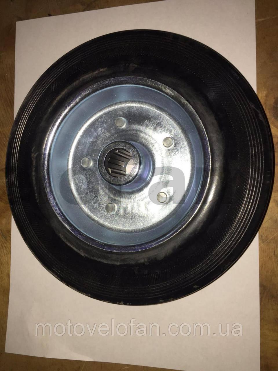 Колесо для тачек и платформ (литая резина)   (200mm, ступица 60mm, под ось 20mm)   ELIT