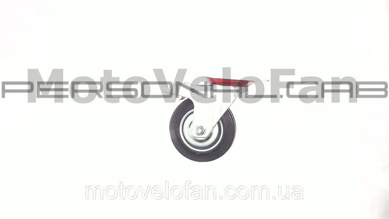 Колесо для тачек и платформ (литая резина) (в сборе с креплением и тормозами)   (100mm)   MRHD