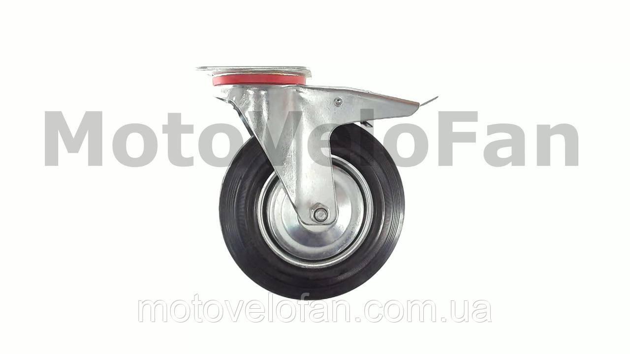 Колесо для тачек и платформ (литая резина) (в сборе с креплением и тормозами)   (200mm)   ELIT