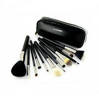 Кисти для макияжа 12 штук MAC черные реплика