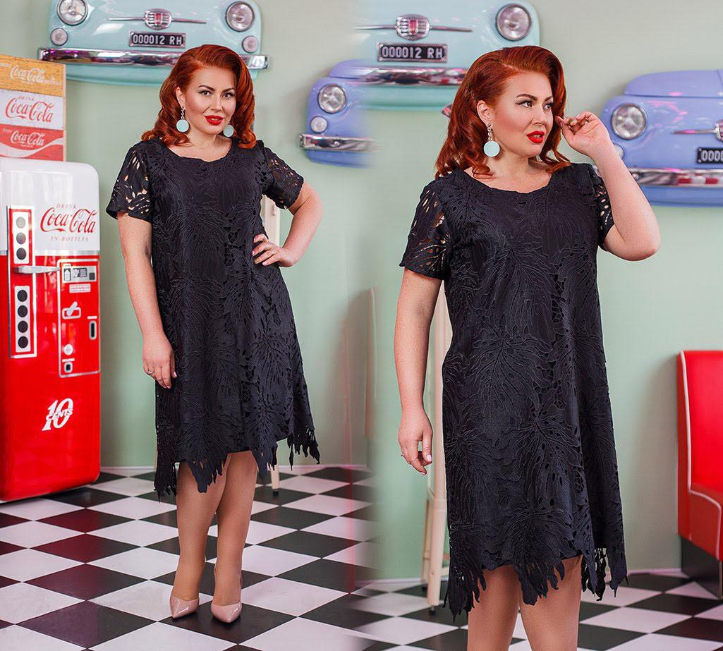 Нарядное модное платье из кружева на подкладе черного цвета.