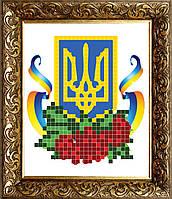 """Заготовка под вышивку бисером на атласе """"Герб Украины"""""""