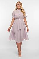 Платье летнее шифоновое нежно-розовое больших размеров. Женские платья.