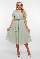 Шифоновое летнее платье нежно-оливкового цвета больших размеров. Женские платья.