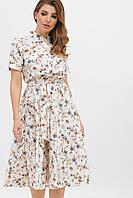 Платье на лето белого цвета с цветами больших размеров.Женские платья.