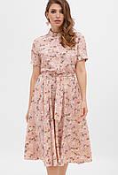 Платье на лето розовое с цветочным принтом. Женская одежда.
