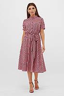 Платье на лето до колена розового цвета в горошек. Женская одежда.