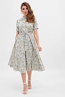 Платье на лето  в стиле ретро бледно-голубое с цветами. Женская одежда.