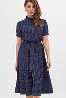 Платье на лето тёмно-синее в мелкий горох.Женская одежда.