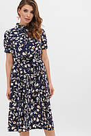 Платье на лето тёмно-синее с цветочным принтом. Женская одежда.
