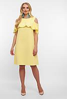 Платье на лето жёлтого цвета свободного кроя. Женские платья.