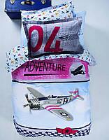 Подростковое постельное белье пике KARACA HOME для мальчика  ADVENTURE с самолетом