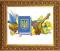 """Заготовка под вышивку бисером на атласе """"Украинская символика"""""""