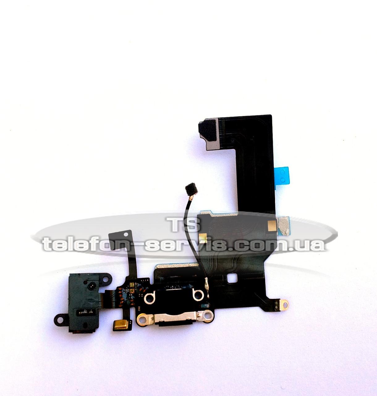 Шлейф  Apple iPhone 5, черный, коннектора зарядки, коннектора наушников, с компонентами, с микрофоном