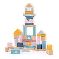 Деревянные кубики Viga Toys PolarB Пастельные блоки, 60 шт., 2,5 см (44010), фото 1