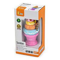 Іграшкові продукти Viga Toys Дерев'яна пірамідка-морозиво, рожевий (51321), фото 1