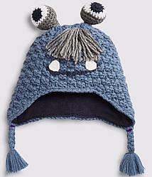 Шапка детская зимняя Синий монстрик Berni Kids (48 см) Мальчикам