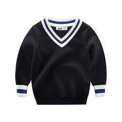 Пуловер для мальчика Синяя полоска, черный 27 KIDS (90)