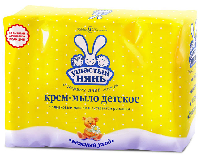 Крем-мыло детское Ушастый Нянь с оливковым маслом и экстрактом ромашки Невская Косметика 4x100г, (1)