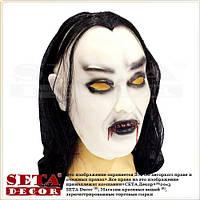 """Маска """"Вампир"""" с волосами и капюшоном резиновая на Хеллоуин"""