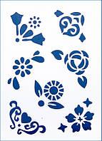 Трафарет универсальный 22х31 Цветы и сердца