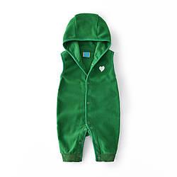 Комбинезон детский флисовый Маленькое сердечко, зеленый Berni Kids (6 мес)