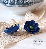 """""""Синие маки"""" авторские серьги ручной работы с цветами из полимерной глины"""