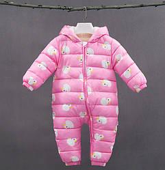 Комбинезон для девочки утепленный демисезонный Уточки, розовый Berni Kids (70)