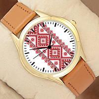 Часы мужские с Вышиванкой, производитель Perfect, золотистый корпус