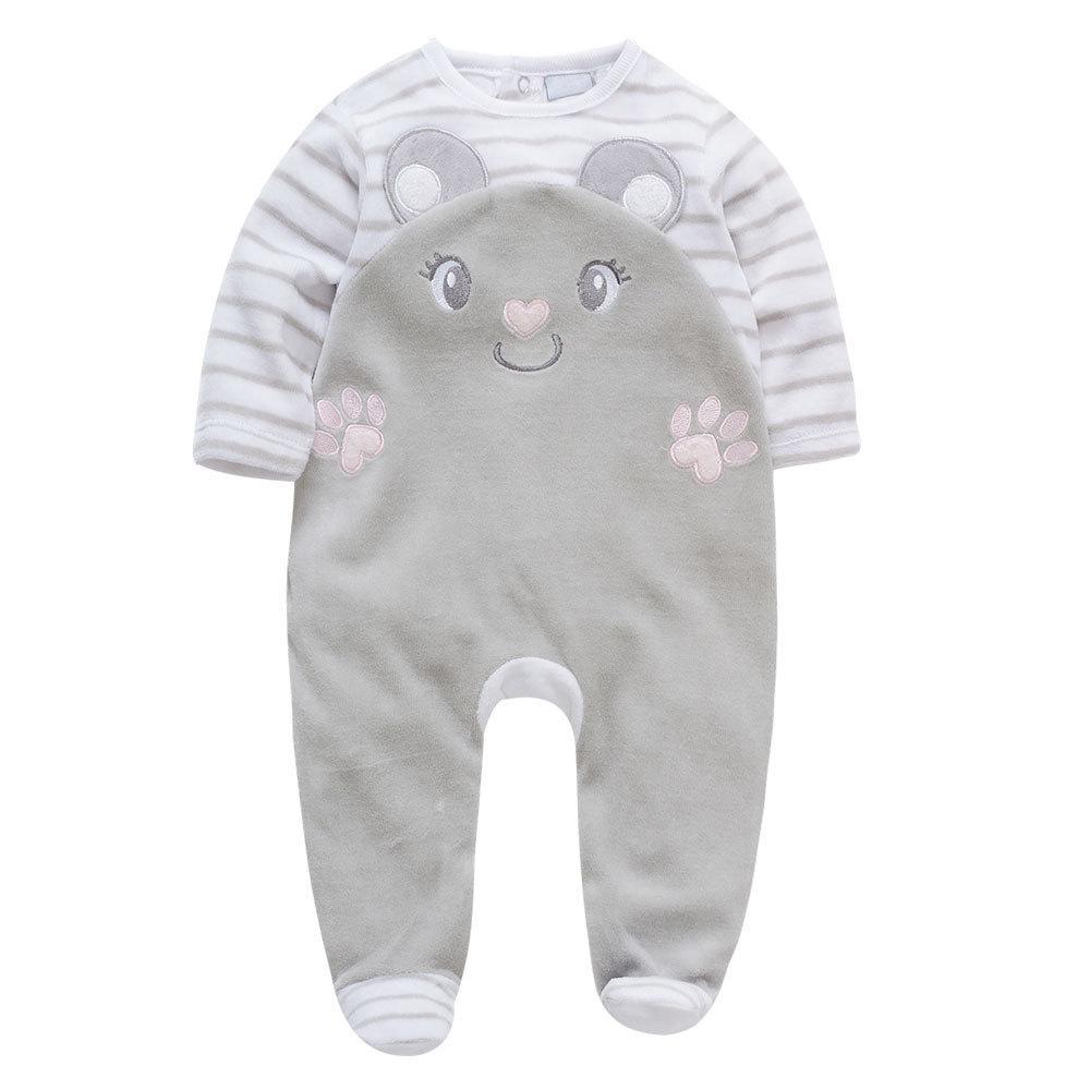 Человечек велюровый детский Серый мышонок Berni Kids (9-12 мес)